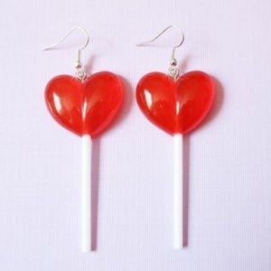 Kawaii Red Heart Lollipop Sucker Earrings